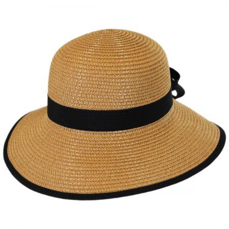 Gianna Hat Two-Tone Bow Toyo Straw Sun Hat