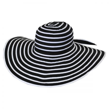 Jeanne Simmons Black and White Ribbon Sun Hat