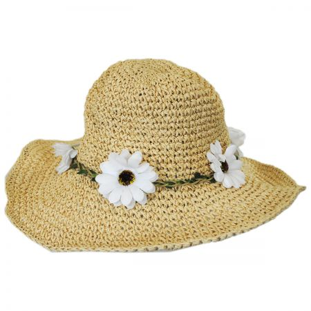 Kids' Daisy Crochet Toyo Straw Sun Hat alternate view 2