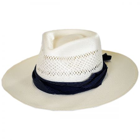 Harvey Shantung Straw Fedora Hat