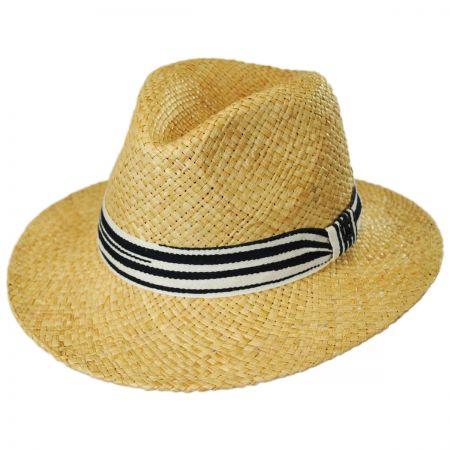 Striped Band Raffia Straw Fedora Hat