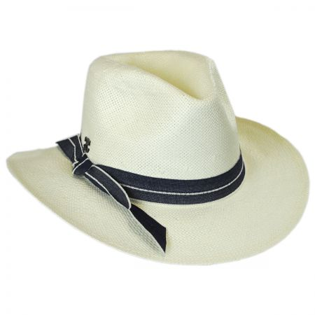 Callanan Hats Denim Band Toyo Straw Fedora Hat