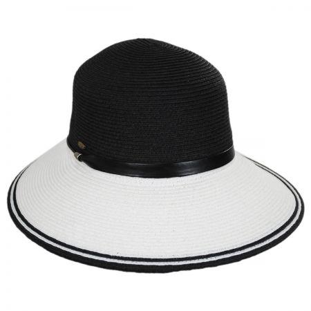 Scala Black and White Toyo Straw Sun Hat