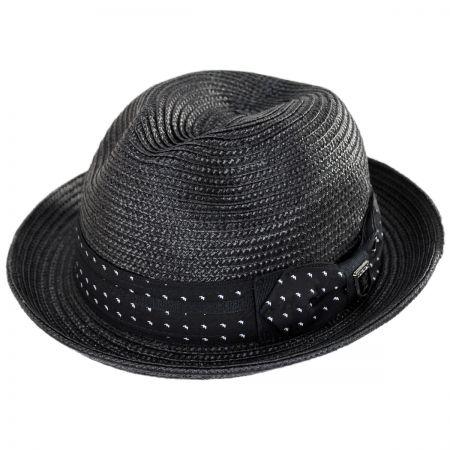 85c85f37897 Stacy Adams Tie Band Straw Trilby Fedora Hat