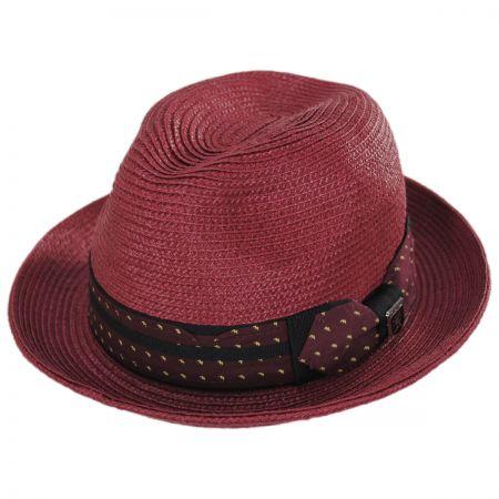 Stacy Adams Tie Band Straw Trilby Fedora Hat