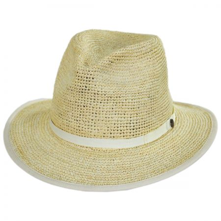 Goorin Bros Pt. Loma Crochet Raffia Straw Fedora Hat