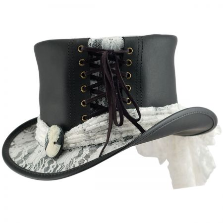 Head 'N Home Havisham White Lace Leather Top Hat