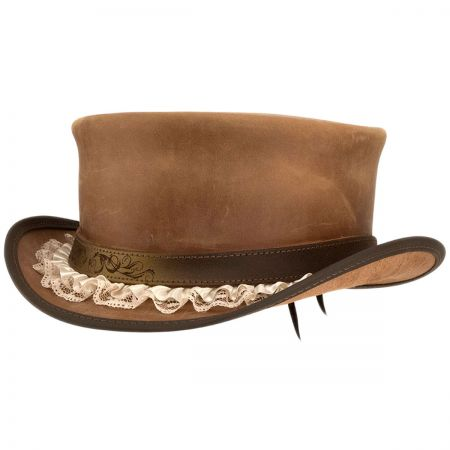 Head 'N Home Marlow Garter Band Leather Top Hat
