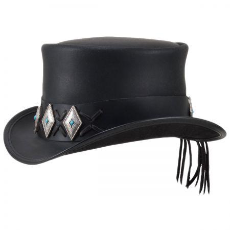 c1b73ebc97081 Black Leather Top Hat at Village Hat Shop