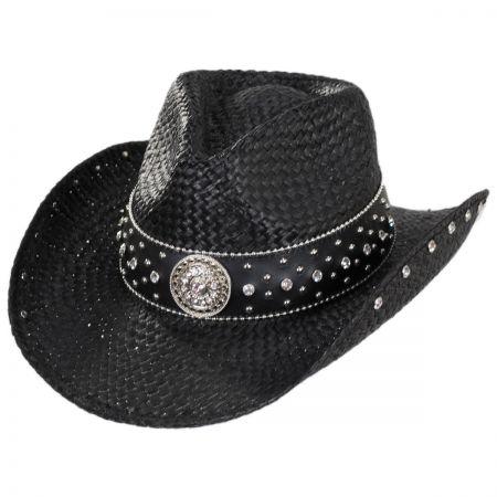 Rhinestone Raffia Straw Western Hat