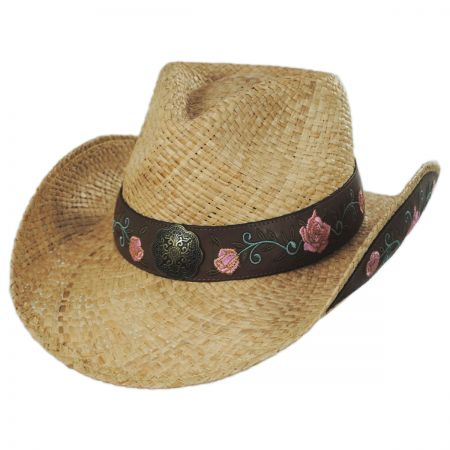 Pink Rose Raffia Straw Western Hat