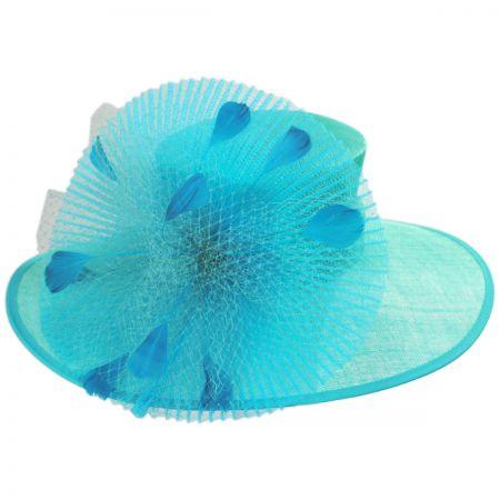 Fishnet Sinamay Straw Boater Hat