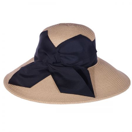 Twist Bow Packable Toyo Straw Lampshade Hat alternate view 1