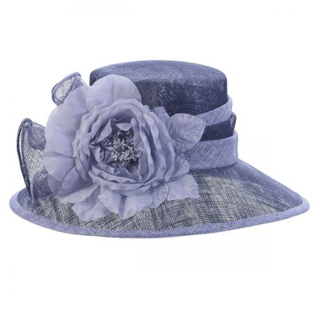 Silk Rose Two-Tone Sinamay Straw Boater Hat