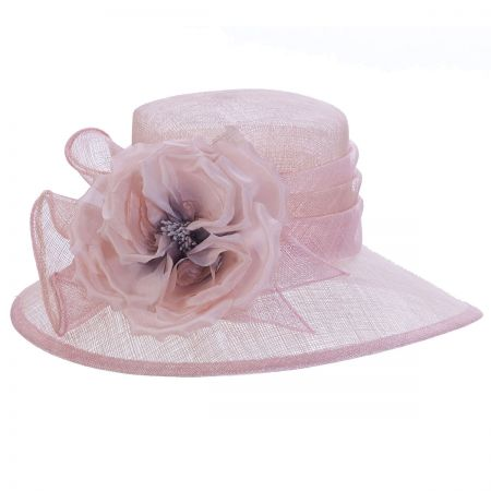 Silk Rose Two-Tone Sinamay Straw Boater Hat alternate view 1