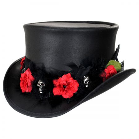 Red Death Leather Top Hat alternate view 1