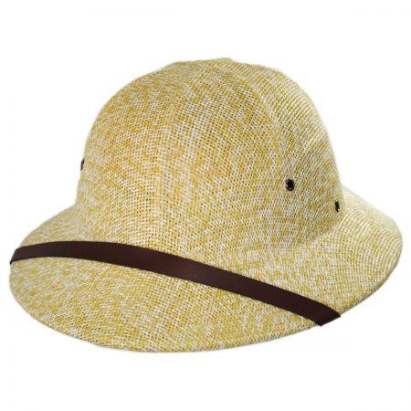 Dorfman Pacific Company Toyo Straw Pith Helmet - Tan/White
