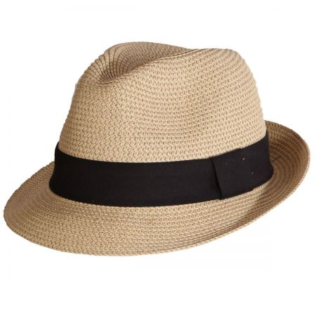 Heather Packable Toyo Straw Trilby Fedora Hat alternate view 12