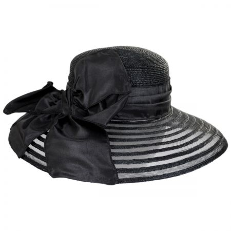 Toucan Collection Satin Bow Toyo Straw and Mesh Lampshade Hat cc5ca2c1628