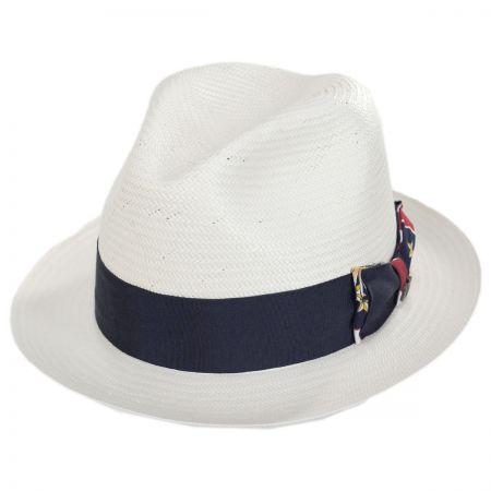 Biltmore Colonial Shantung Straw Trilby Fedora Hat