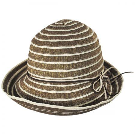 Jeanne Simmons Metallic Ribbon Cloche Hat