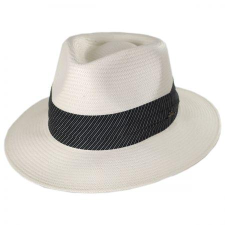 Stripe Band Shantung Straw Fedora Hat alternate view 1