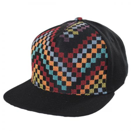 Black Checkered Snapback Baseball Cap alternate view 1