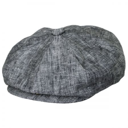 Mens Fitted 100/% Linen Newsboy Ivy Flat Snap Cap hat S//M, Charcoal