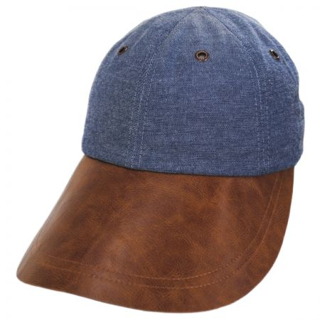 Vegan Leather Long Bill Strapback Baseball Cap alternate view 1