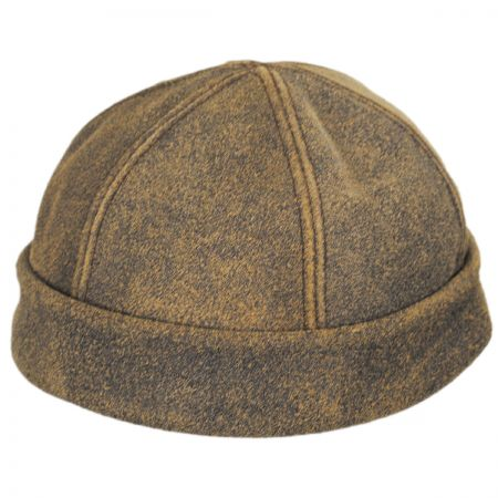 New York Hat Company Six Panel Antique Leather Skull Cap Beanie Hat