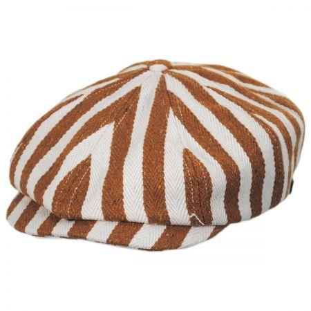 Brixton Hats Brood Striped Cotton Blend Newsboy Cap