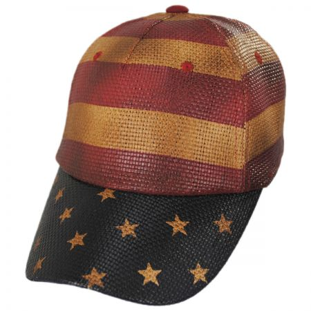 Stripes and Stars Straw Adjustable Baseball Cap alternate view 1
