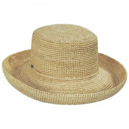 Crocheted Raffia Straw Boater Hat - Petite