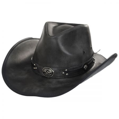 Faux Leather Western Hat