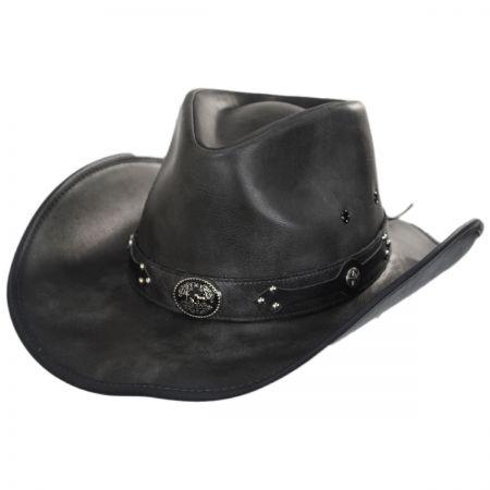 101c8f4bbcc Black Leather Western Hat at Village Hat Shop