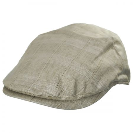 Bigalli Windowpane Plaid Linen and Cotton Duckbill Ivy Cap