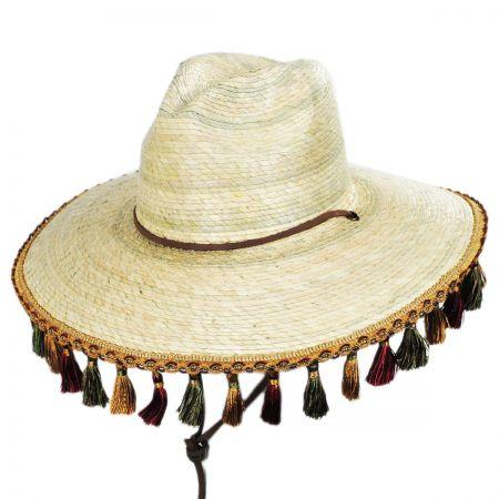 Brixton Hats Bells Palm Leaf Straw Safari Fedora Hat
