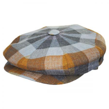 Herringbone Squares Silk and Linen Newsboy Cap