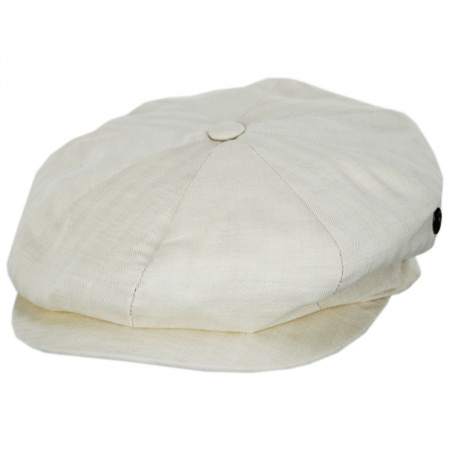 Summer Herringbone Linen and Cotton Newsboy Cap