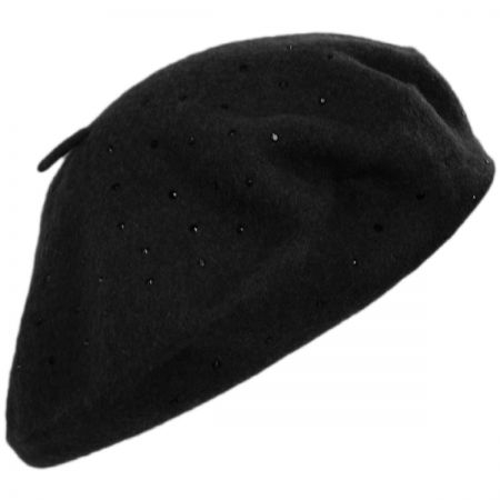 Black Stud Wool Felt Beret alternate view 1