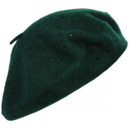 Black Stud Wool Felt Beret alternate view 4