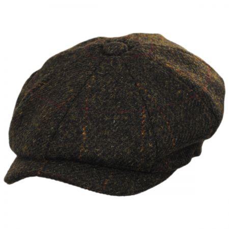 Carloway Harris Tweed Wool Windowpane Plaid Newsboy Cap