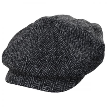 8fa017e30 Carloway Harris Tweed Wool Herringbone Newsboy Cap
