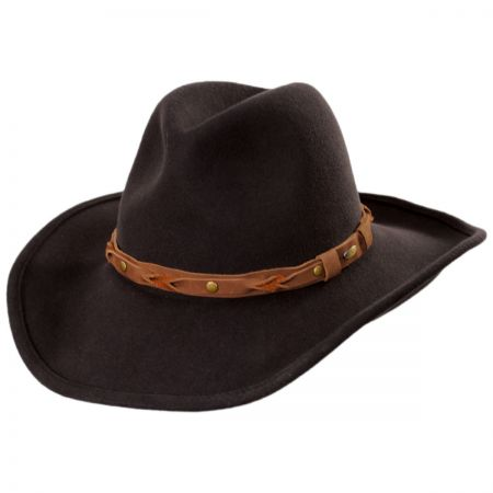 Scala Leather and Studs Wool Western Hat