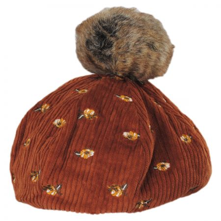 Cord and Floral Cotton Beret