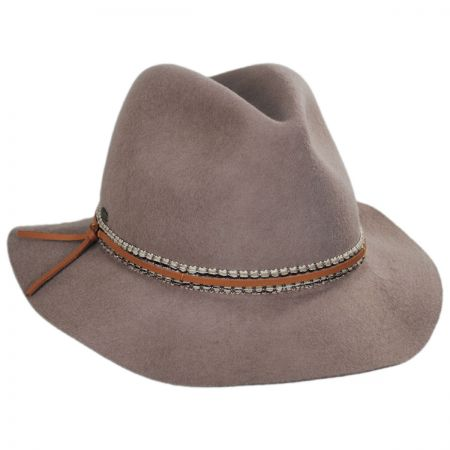 Scala Safari Ribbon and Leather Wool Fedora Hat