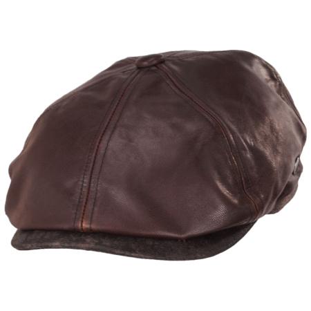 Jaxon Hats Leather Suede Newsboy Cap