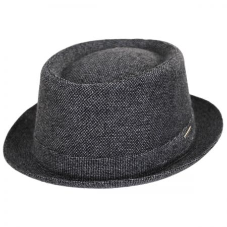 Micro Herringbone Wool Blend Pork Pie Hat