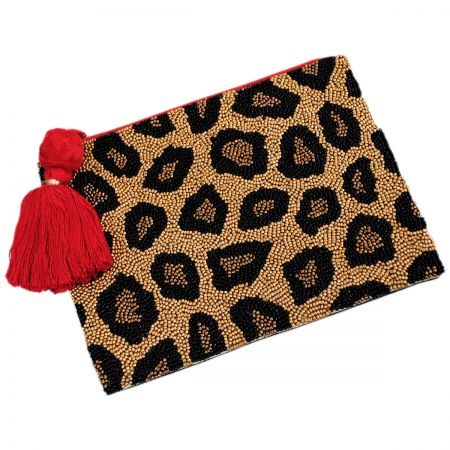 Animal Attraction Beaded Cotton Zipper Clutch