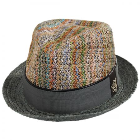 Mosaic Raffia Straw Blend Fedora Hat alternate view 1